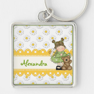 Daisy Toddler and Teddy Silver-Colored Square Keychain