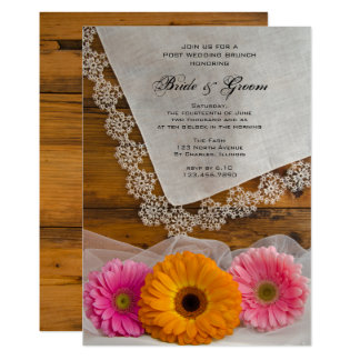 Daisy Trio and Lace Country Post Wedding Brunch Card