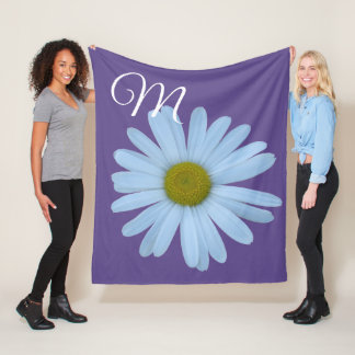 Daisy Ultra Violet Monogram Photo Real Floral Fleece Blanket