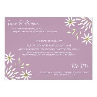 Daisy Wedding Invitation in Plum Purple