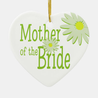 Daisy Wedding/ Mother of the Bride Ceramic Heart Ornament