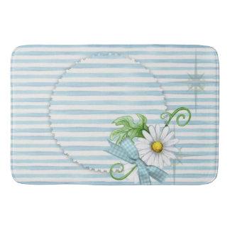 Daisy with Blue Stripes Bath Mat