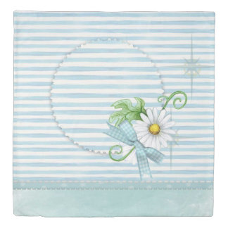 Daisy with Blue Stripes Duvet Cover