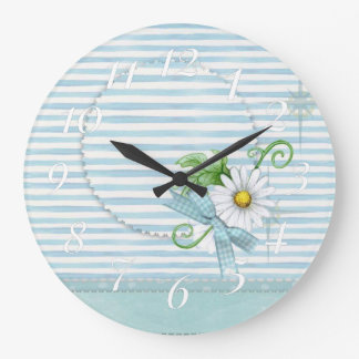 Daisy with Blue Stripes Large Clock