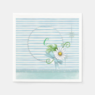 Daisy with Blue Stripes Paper Napkin