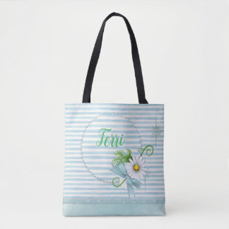 Daisy with Blue Stripes Tote Bag