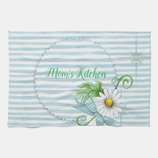 Daisy With Blue Strips Monogram Kitchen Towel