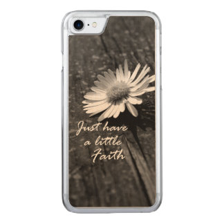 Daisy Wood Faith Quote Carved iPhone 8/7 Case