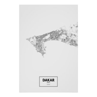 Dakar, Senegal (black on white) Poster
