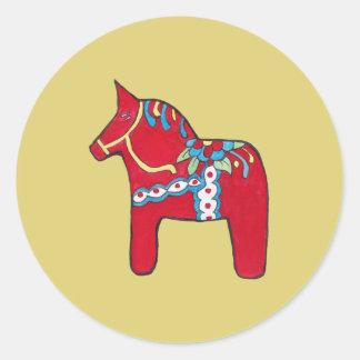 Dala Horse Classic Round Sticker