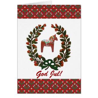 Dala Horse Wreath God Jul Merry Christmas Card