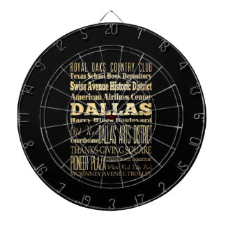 Dallas City of Texas State Typography Art Dartboard With Darts