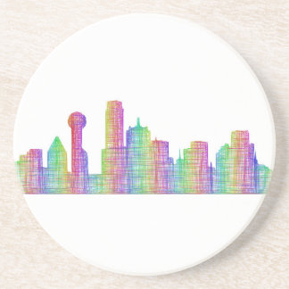 Dallas city skyline drink coasters