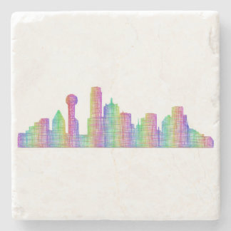 Dallas city skyline stone beverage coaster