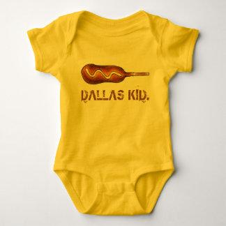 Dallas Kid TX Texas Corndog Corn Dog Mustard Baby Bodysuit