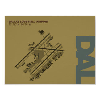 Dallas Love Field Airport (DAL) Diagram Poster