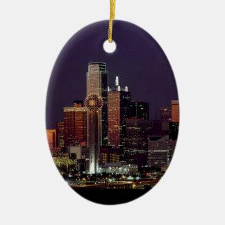 Dallas Night Skyline Ceramic Ornament