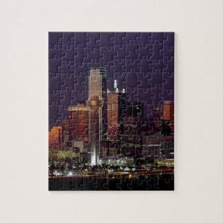 Dallas Night Skyline Jigsaw Puzzle