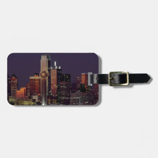 Dallas Night Skyline Luggage Tag