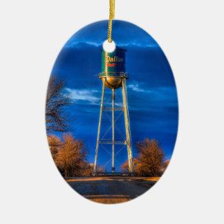 Dallas, SD Water Tower Ceramic Oval Ornament