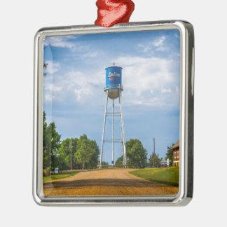 Dallas, SD Water Tower & Museum Silver-Colored Square Ornament