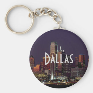 Dallas Skyline at Night Basic Round Button Keychain