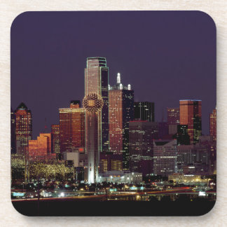 Dallas Skyline at Night Beverage Coaster