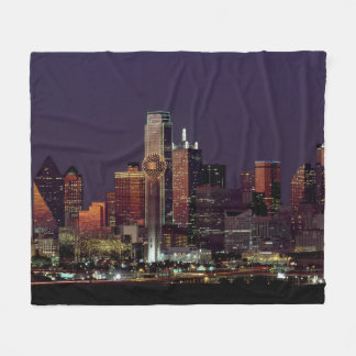 Dallas Skyline at Night Fleece Blanket