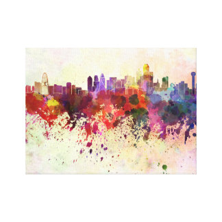 Dallas skyline in watercolor background canvas print