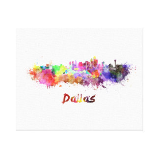 Dallas skyline in watercolor canvas print