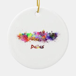 Dallas skyline in watercolor ceramic ornament