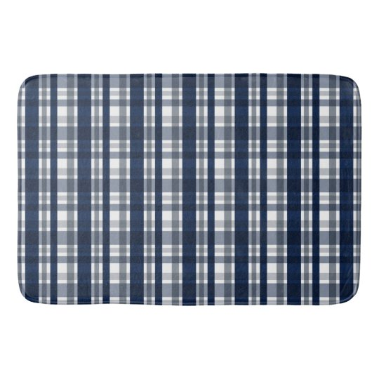 Dallas Sports Fan Navy Blue Silver Plaid Striped Bath Mat