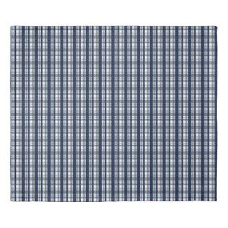 Dallas Sports Fan Navy Blue Silver Plaid Striped Duvet Cover