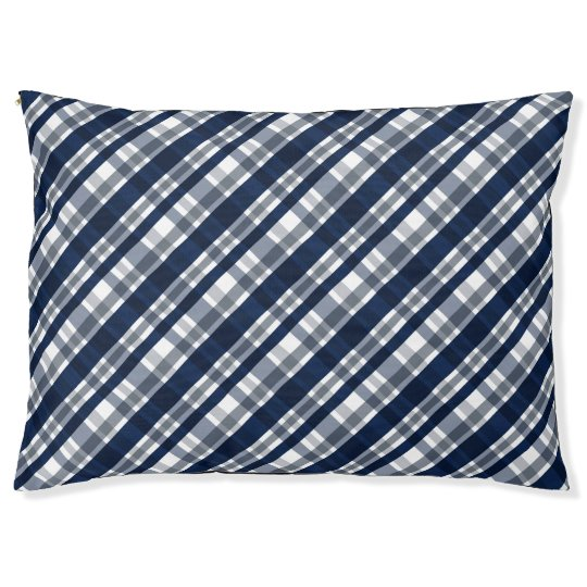 Dallas Sports Fan Navy Blue Silver Plaid Striped Large Dog Bed