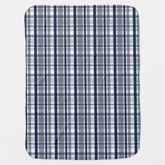 Dallas Sports Fan Silver Navy Blue Plaid Striped Baby Blanket