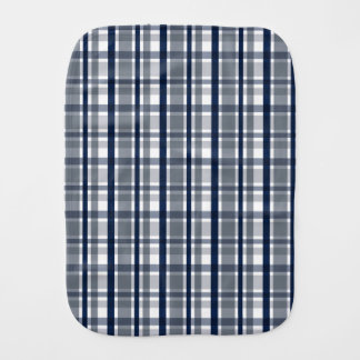 Dallas Sports Fan Silver Navy Blue Plaid Striped Burp Cloth