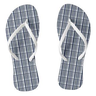 Dallas Sports Fan Silver Navy Blue Plaid Striped Flip Flops