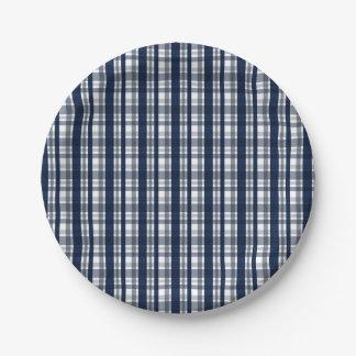 Dallas Sports Fan Silver Navy Blue Plaid Striped Paper Plate
