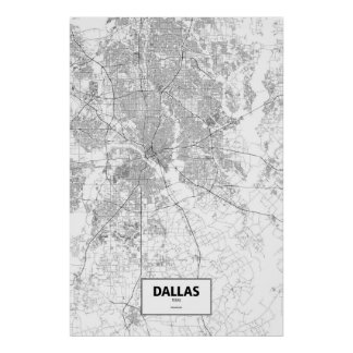 Dallas, Texas (black on white) Poster