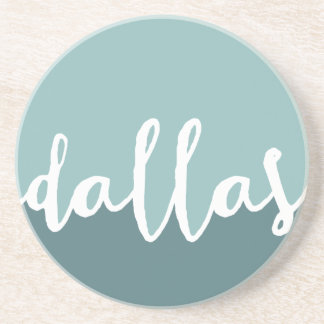 Dallas, Texas | Blue Ombre Circle Beverage Coaster