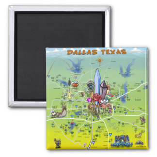 Dallas Texas Cartoon Map Magnet