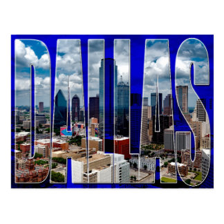 Dallas Texas City Skyline Typographic Postcard