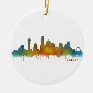 Dallas Texas City Watercolor Skyline Hq v2 Ceramic Ornament