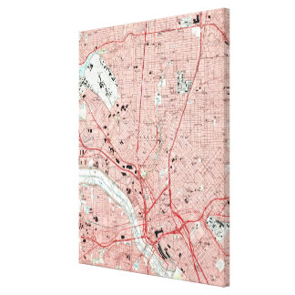 Dallas Texas Map (1995) Canvas Print
