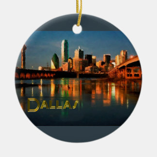 Dallas Texas Skyline at Dusk Ceramic Ornament