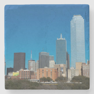 Dallas Texas skyline at sunset Stone Coaster