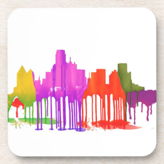 DALLAS, TEXAS SKYLINE PUDDLES DRINK COASTERS