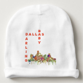 Dallas, Texas Skyline SG-Faded Glory Baby Beanie
