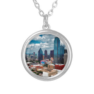 Dallas Texas Skyline Silver Plated Necklace