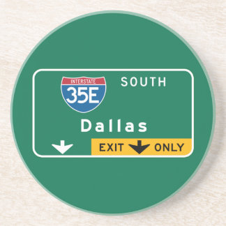 Dallas, TX Road Sign Beverage Coasters
